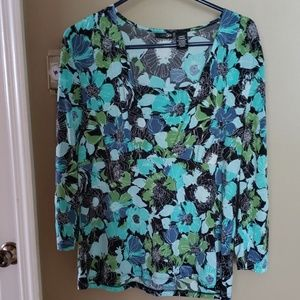 Women's size L floral polyester top